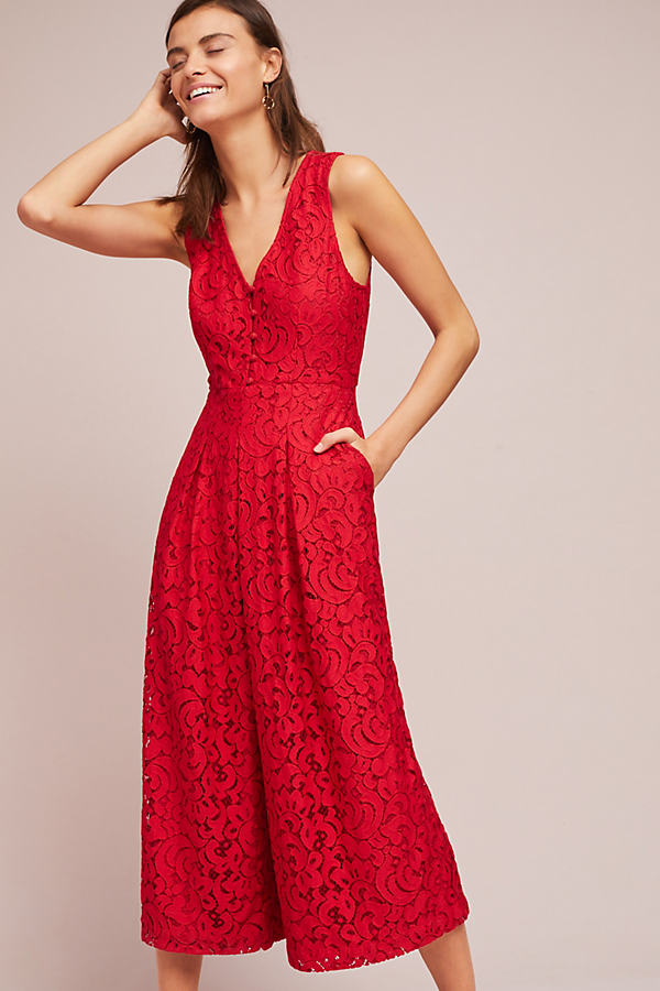 Jaeda Lace Wide Leg Jumpsuit - Red, Size Uk 12