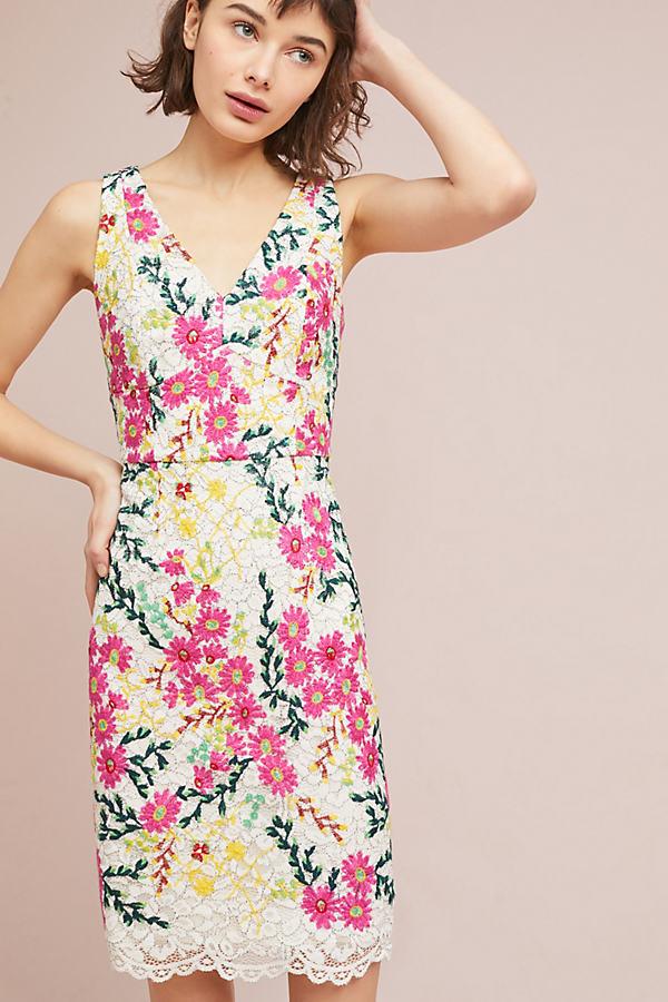 Taylor Floral-Print Lace Dress - Neutral Motif, Size Uk 12