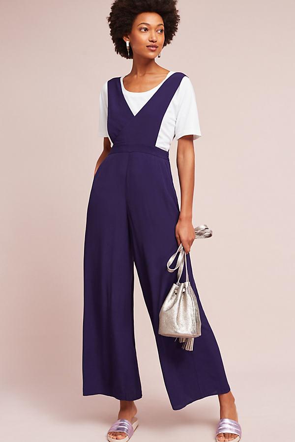 Souxanne Wide-Leg Apron Jumpsuit - Dark Purple, Size 16 Petite
