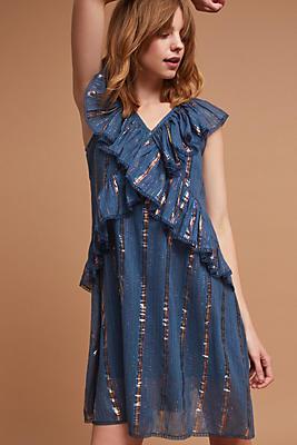 Slide View: 1: Metallic Ruffled Dress