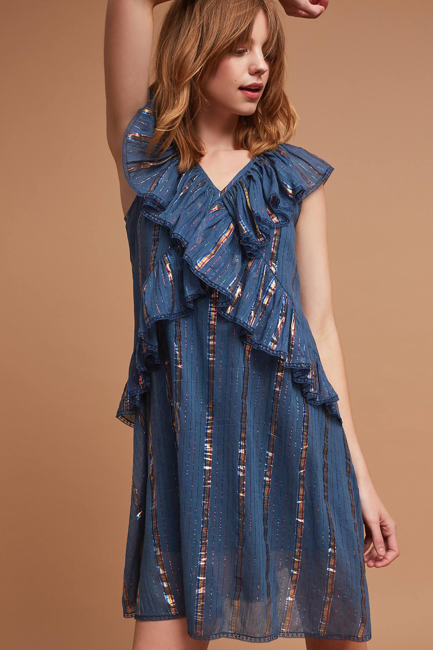 Metallic Ruffled Dress