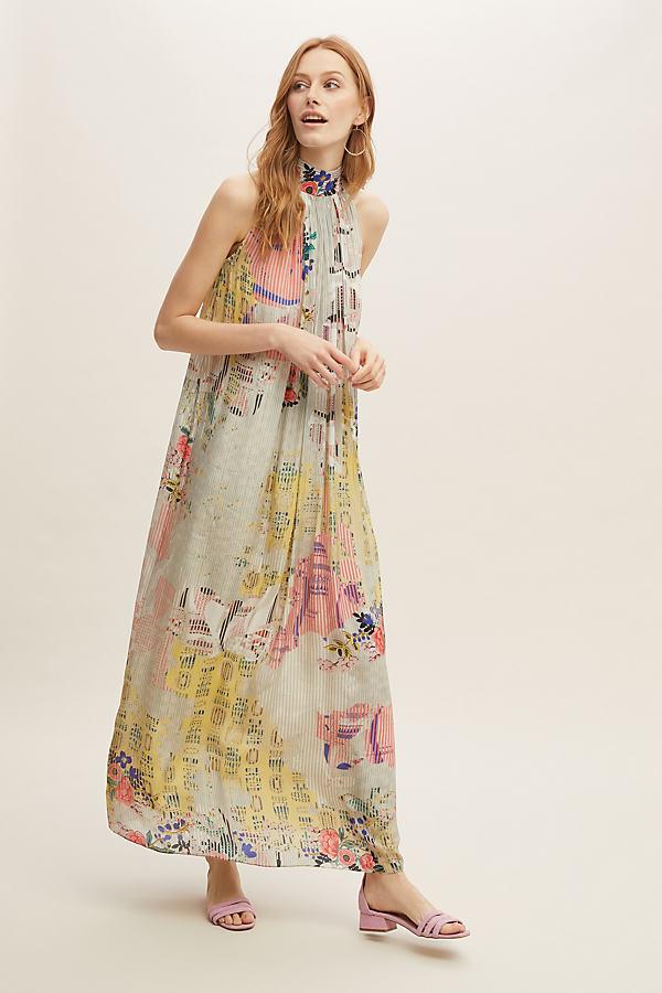 Floral-Printed Halterneck Maxi Dress - Assorted, Size Uk 14