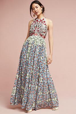 Slide View: 1: Adelise Beaded Halter Dress