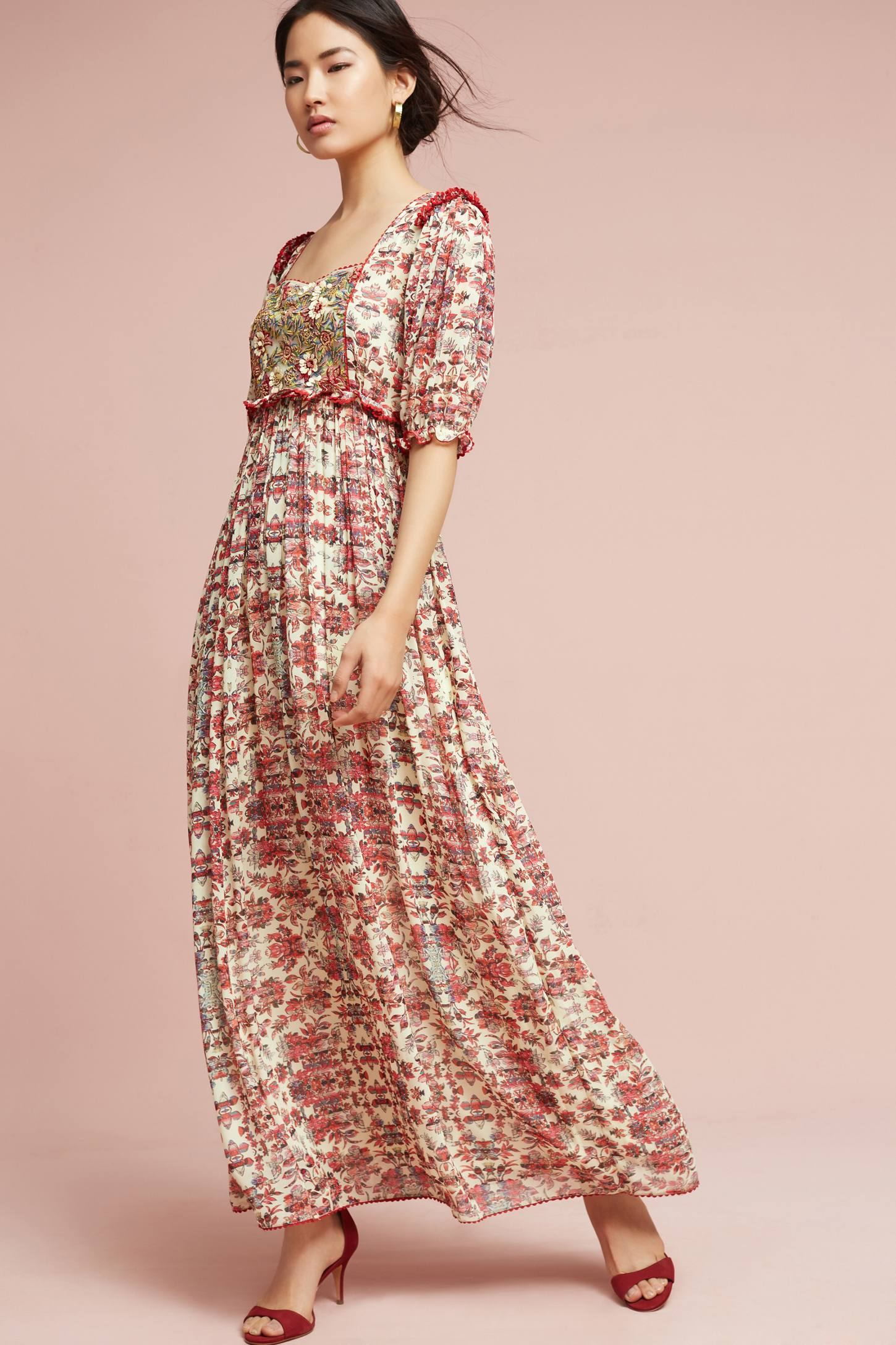 Slide View: 1: Robe longue Sidella, rose