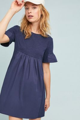 Poplin Ruffle Sleeve Dress by English Factory