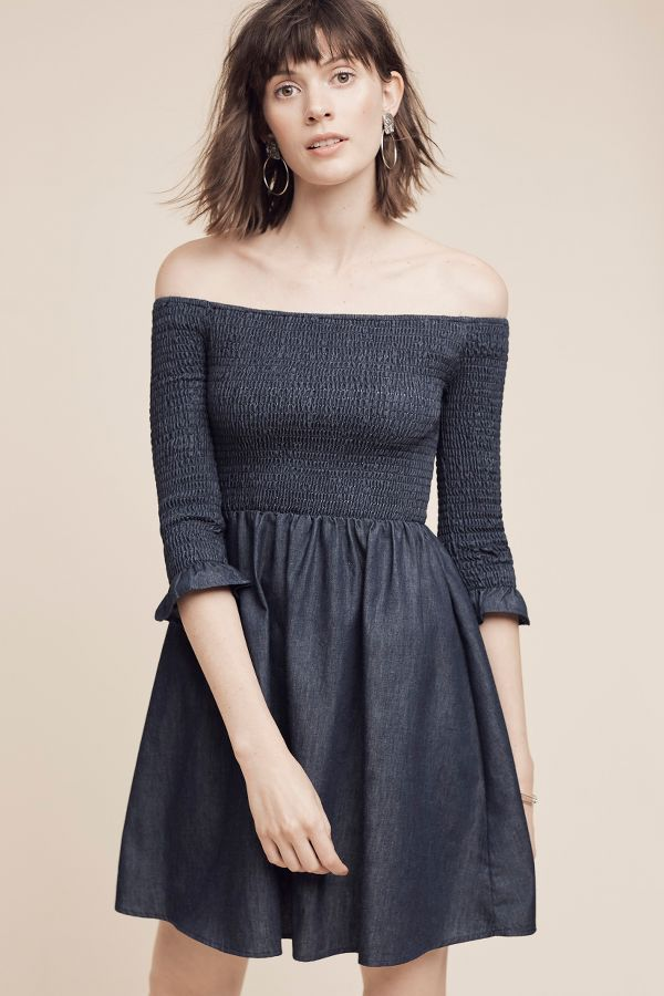 Maeve Smocked Off-The-Shoulder Denim Dress