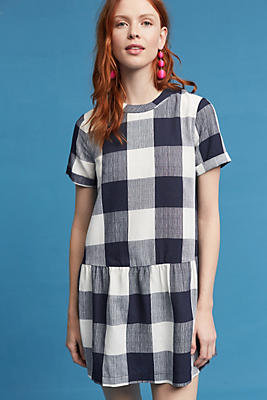Slide View: 1: Halle Drop-Waist Gingham Dress