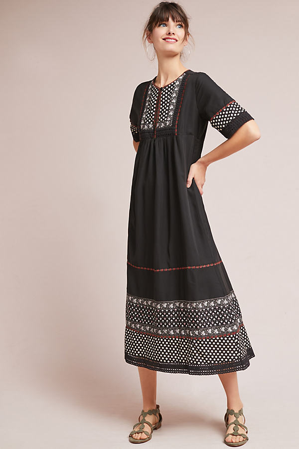 Nash Patterned Peasant Dress - Black Motif, Size M