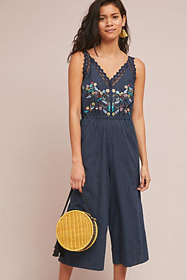 Slide View: 1: Lacy Embroidered Jumpsuit