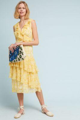 dRA   Sunny Days Ruffled Dress  -    YELLOW MOTIF