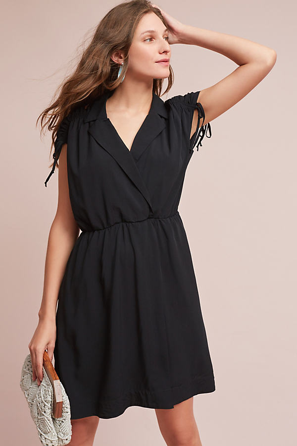 Carlotta Ruched Shirt Dress - Black, Size Xs