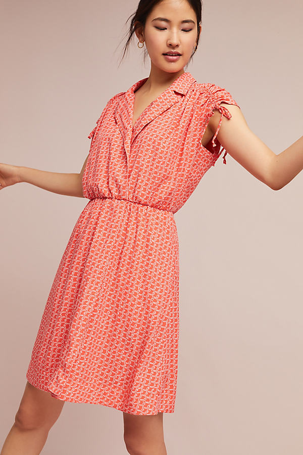 Carlotta Ruched Shirt Dress - Red Motif, Size L