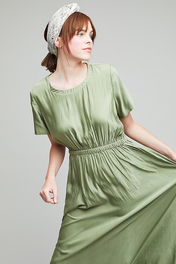 Walker Drawsting T-shirt Dress, Green - Green, Size L