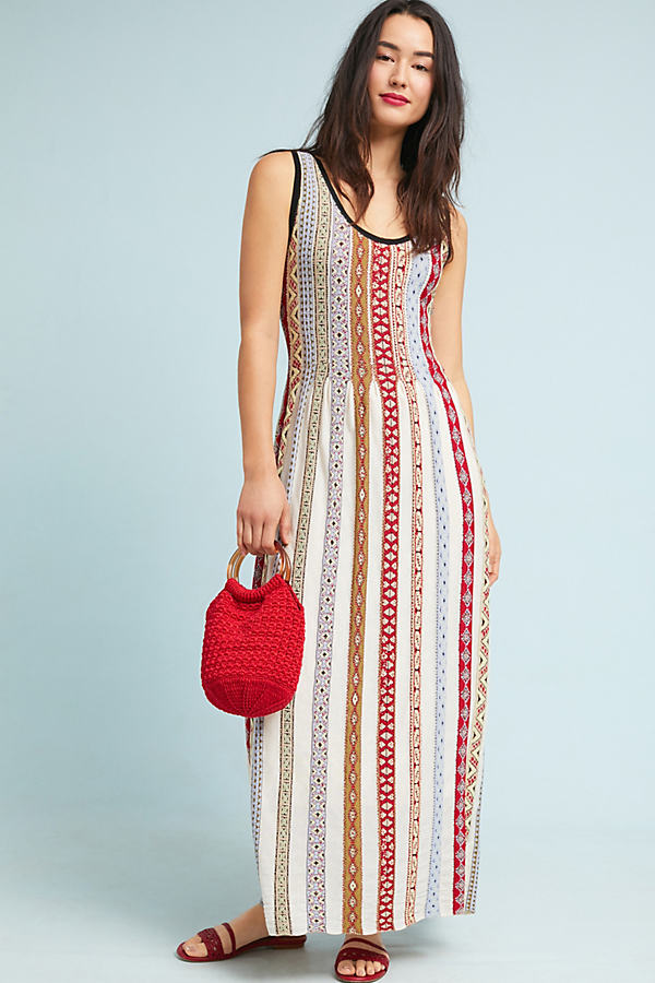 Bungalow Striped Knit Maxi Dress - Neutral Motif, Size Xl