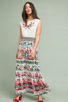 Aldomartins   Elma Embroidered Maxi Dress  -    NOVELTY