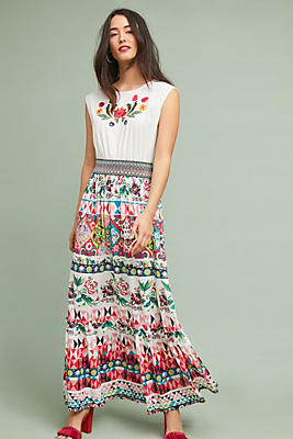Slide View: 1: Elma Embroidered Maxi Dress