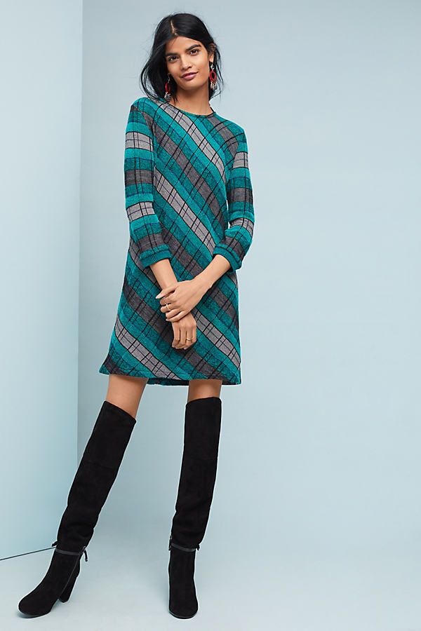 Plaid Sweater Dress - Assorted, Size M