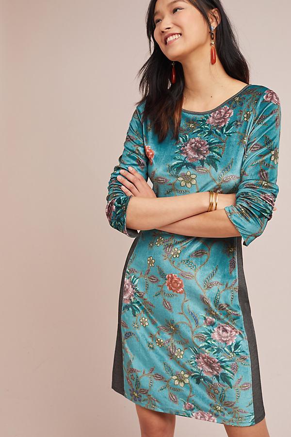 Floral Velvet Dress - Assorted, Size Xs