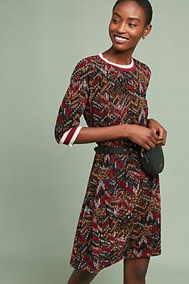 Slide View: 1: Geometric Velvet Dress
