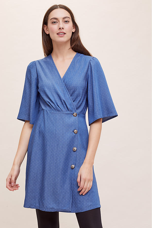 Mini-Wrap Chambray Dress - Blue, Size Uk 12