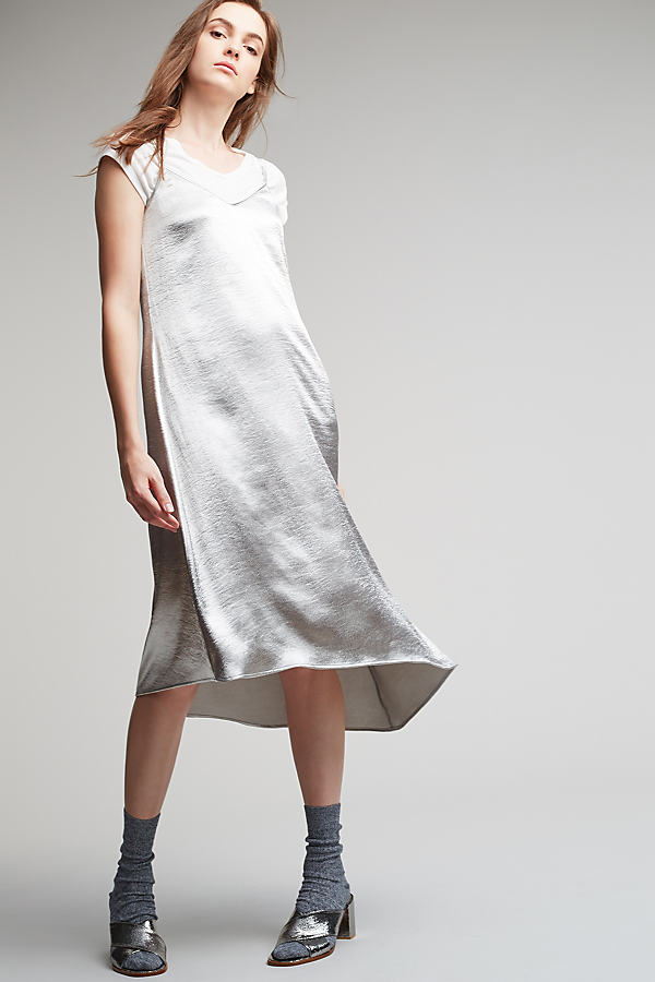 Erin Asymmetric Dress, Silver - Silver, Size Uk 6