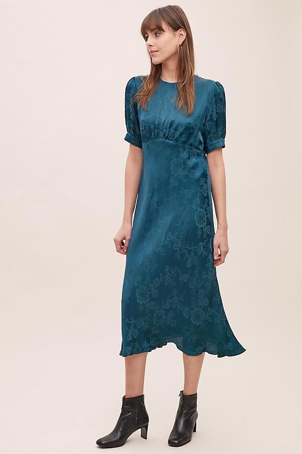 Samantha Floral-Jacquard Dress - Green, Size Uk 8