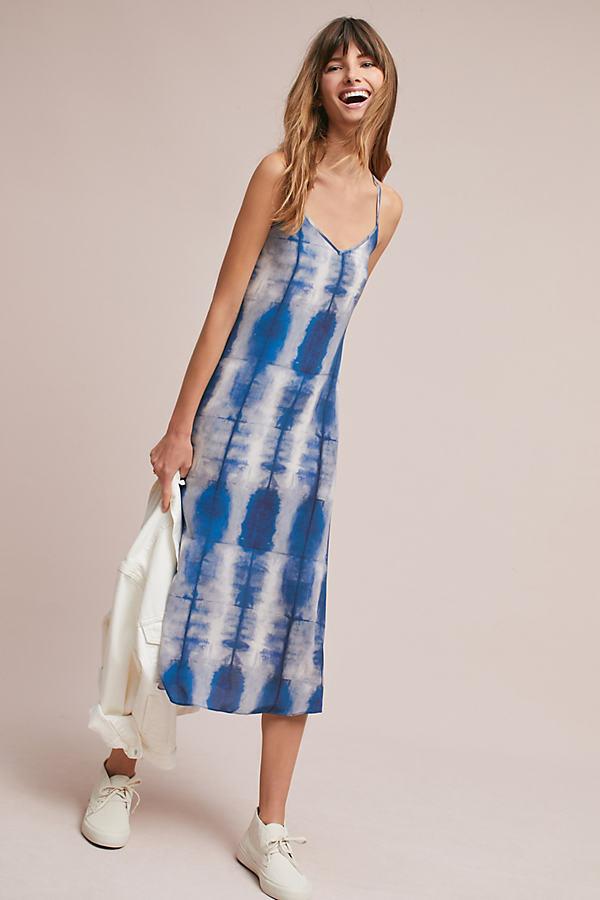 Flur Tie-Dye Silk Dress, Blue - Blue, Size Uk 6