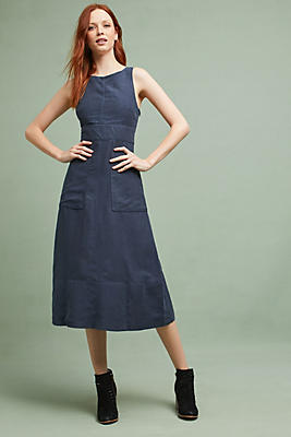 Slide View: 1: Pinafore Cross-Back Dress