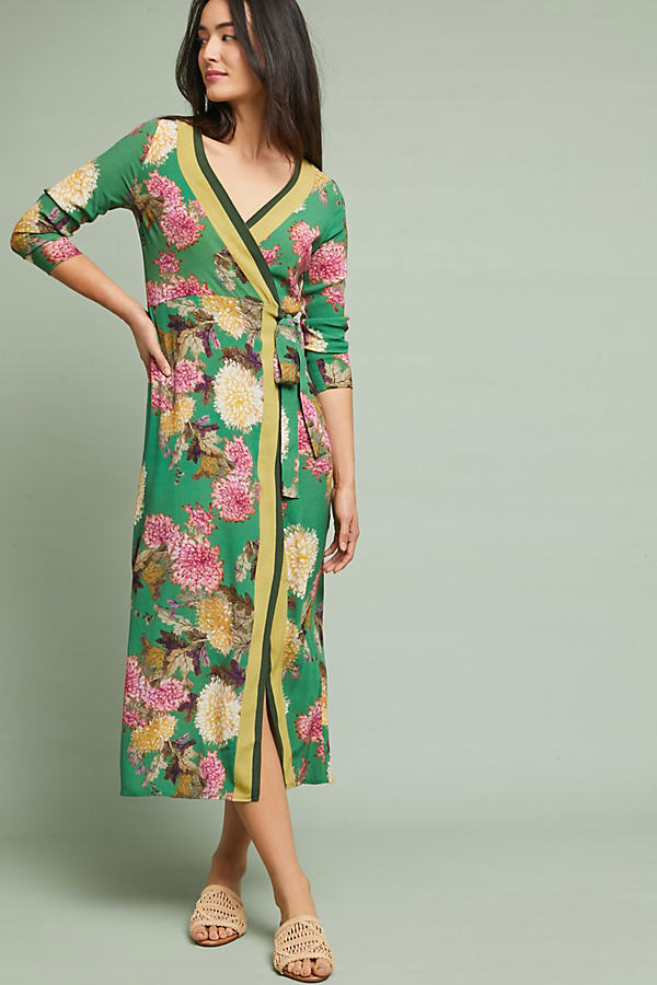Edna Floral Kimono Maxi Dress - Green, Size Uk 10