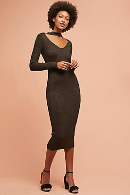 Slide View: 1: Ribbed Cutout Dress