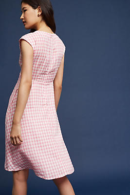 Slide View: 1: Ruched Gingham Dress