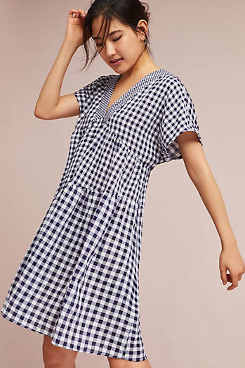Gingham V-Neck Swing Dress