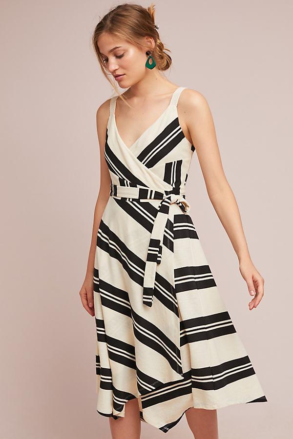Adhelin Striped-Wrap Dress - Assorted, Size Uk 8
