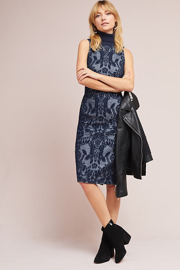 Ryder Jacquard Turtleneck Dress - Navy