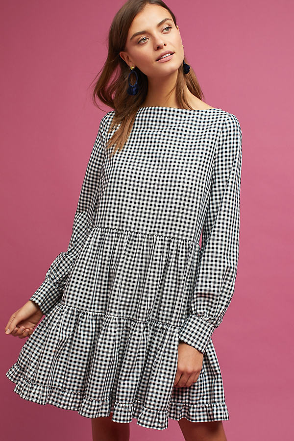 Saffia Tiered Gingham Dress - Black & White, Size S