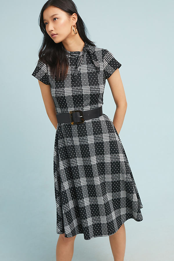 Rebecca Plaid-Jacquard Dress - Assorted, Size S
