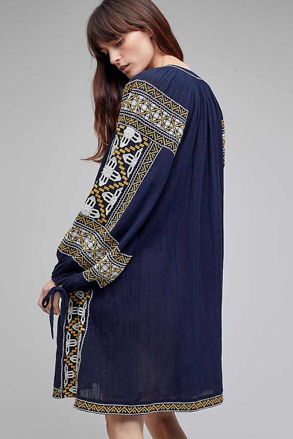 Slide View: 2: Anjou Embroidered Tunic Dress