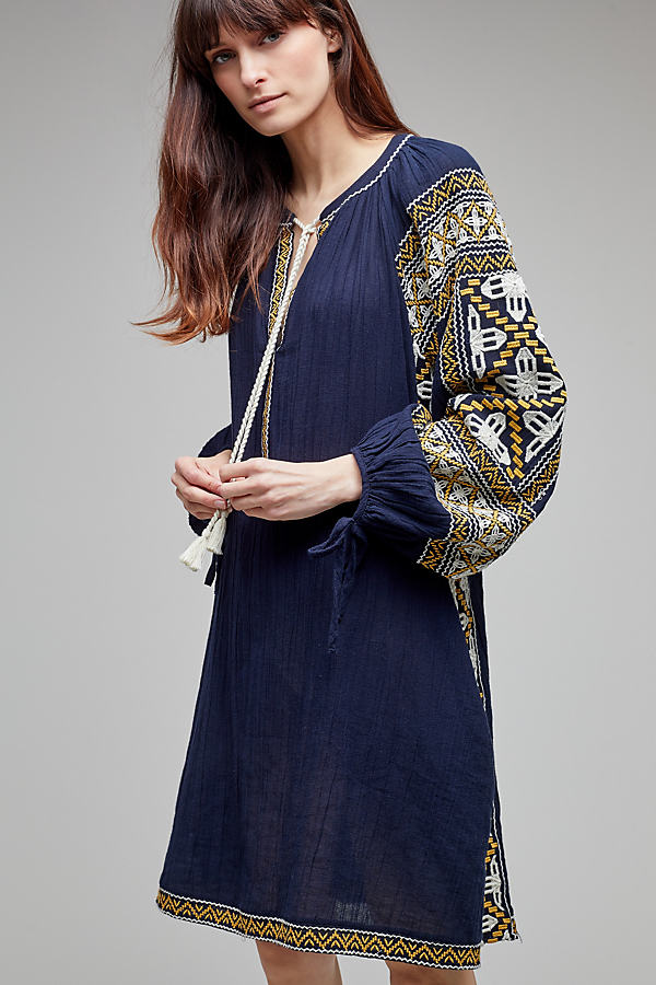 Anjou Embroidered Tunic Dress - Navy, Size L