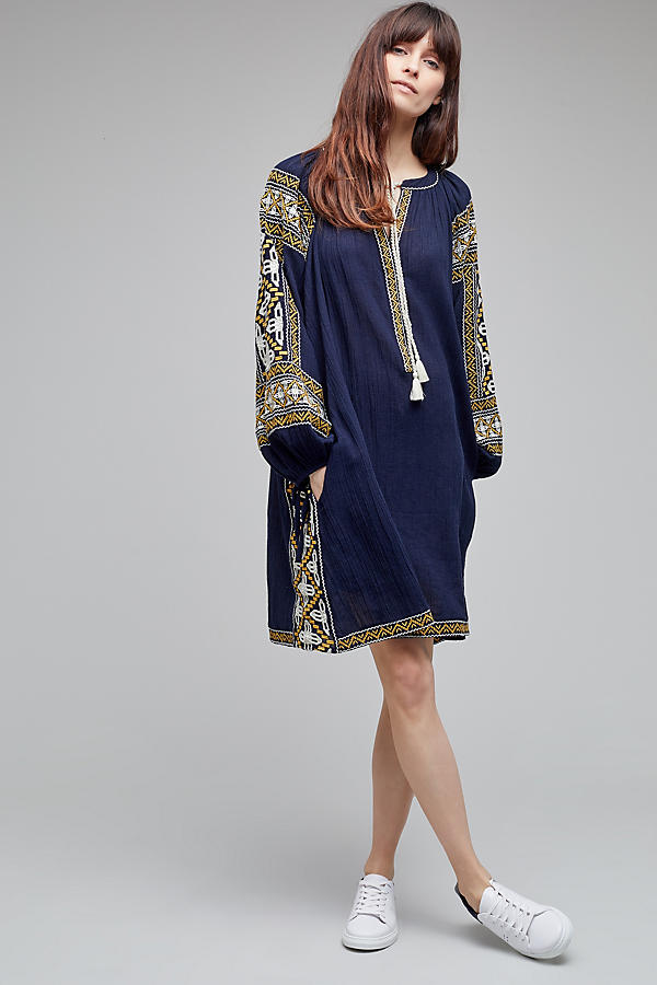Slide View: 4: Anjou Embroidered Tunic Dress
