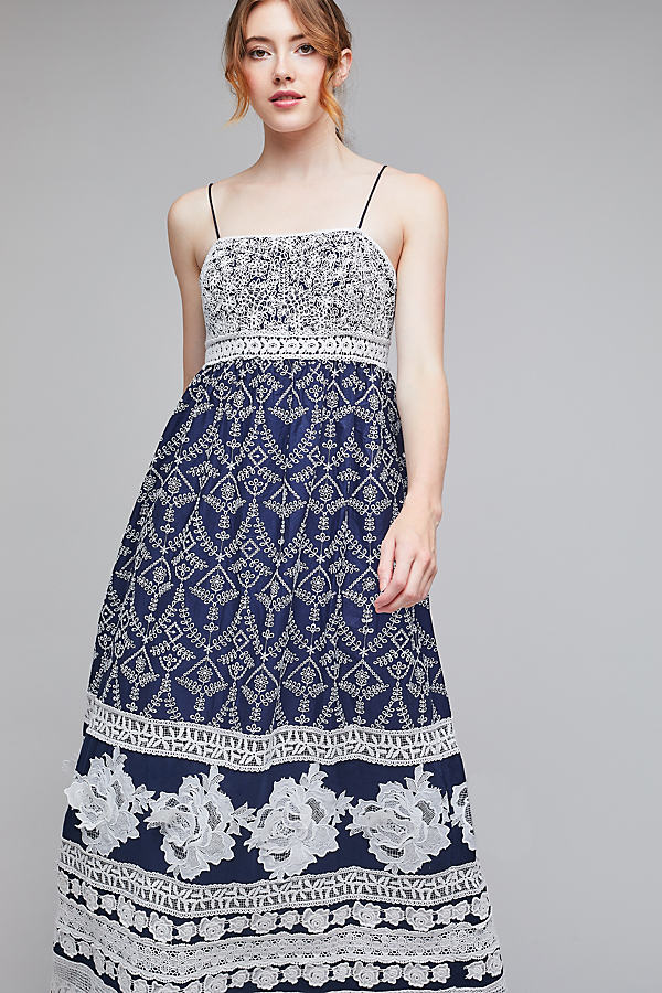 Jill Lace Embroidered Maxi Dress - Navy, Size Uk 8