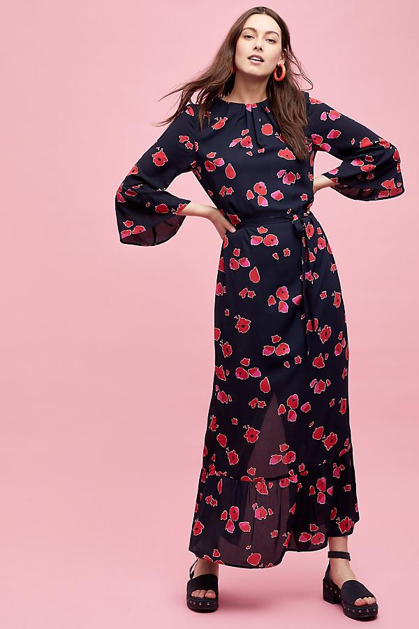 Selected Femme Joanie Printed Maxi Dress - Blue, Size Uk 12