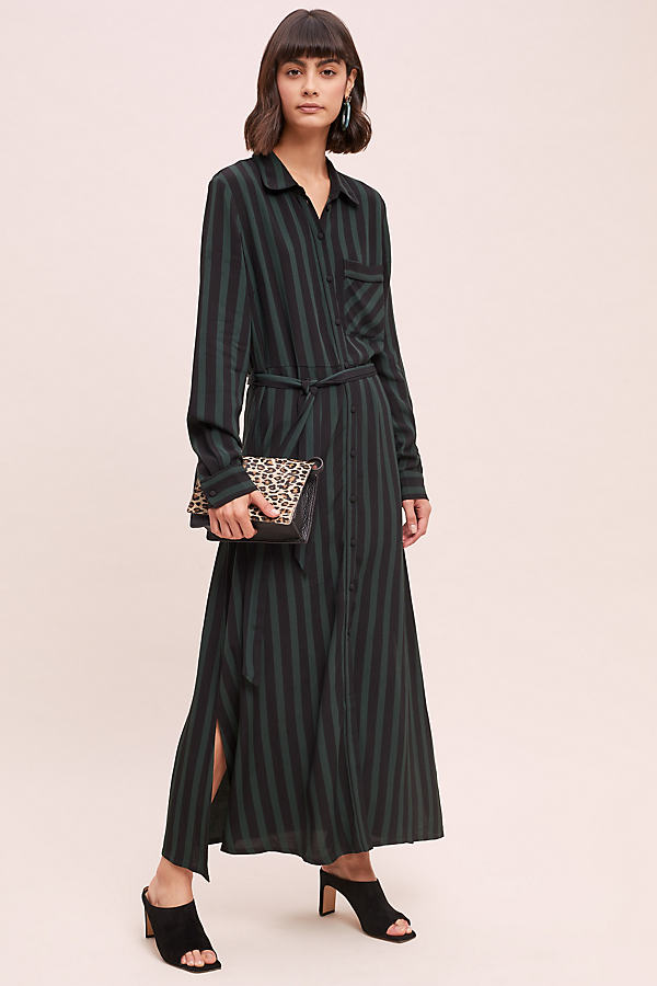 Selected Femme Striped Shirt Maxi Dress - Assorted, Size Uk 10