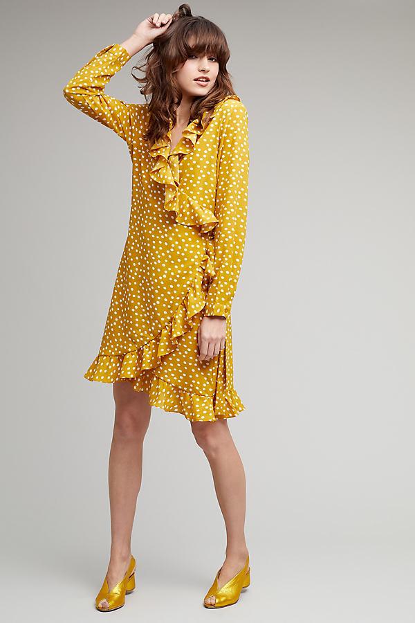 Rosalyn Spotted Ruffle Trim Wrap Dress - Honey, Size Uk 8