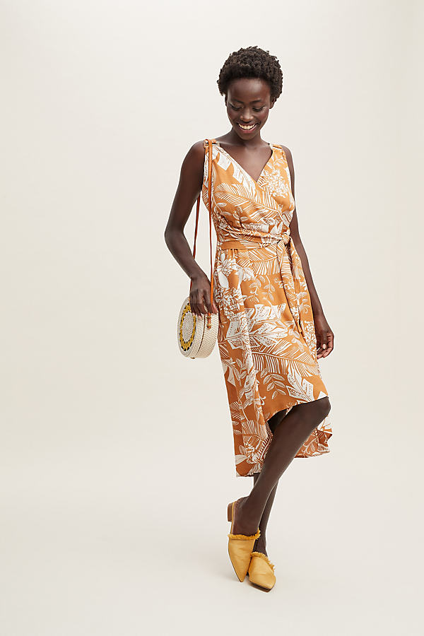 Lori Printed-Midi Dress - Orange, Size L