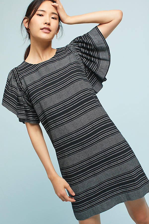 Slide View: 1: Denmark Striped Tunic Dress, Black
