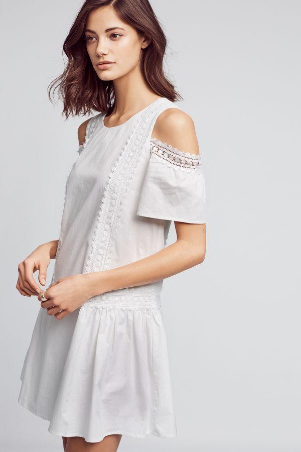 Moon River Open-Shoulder Poplin Dress