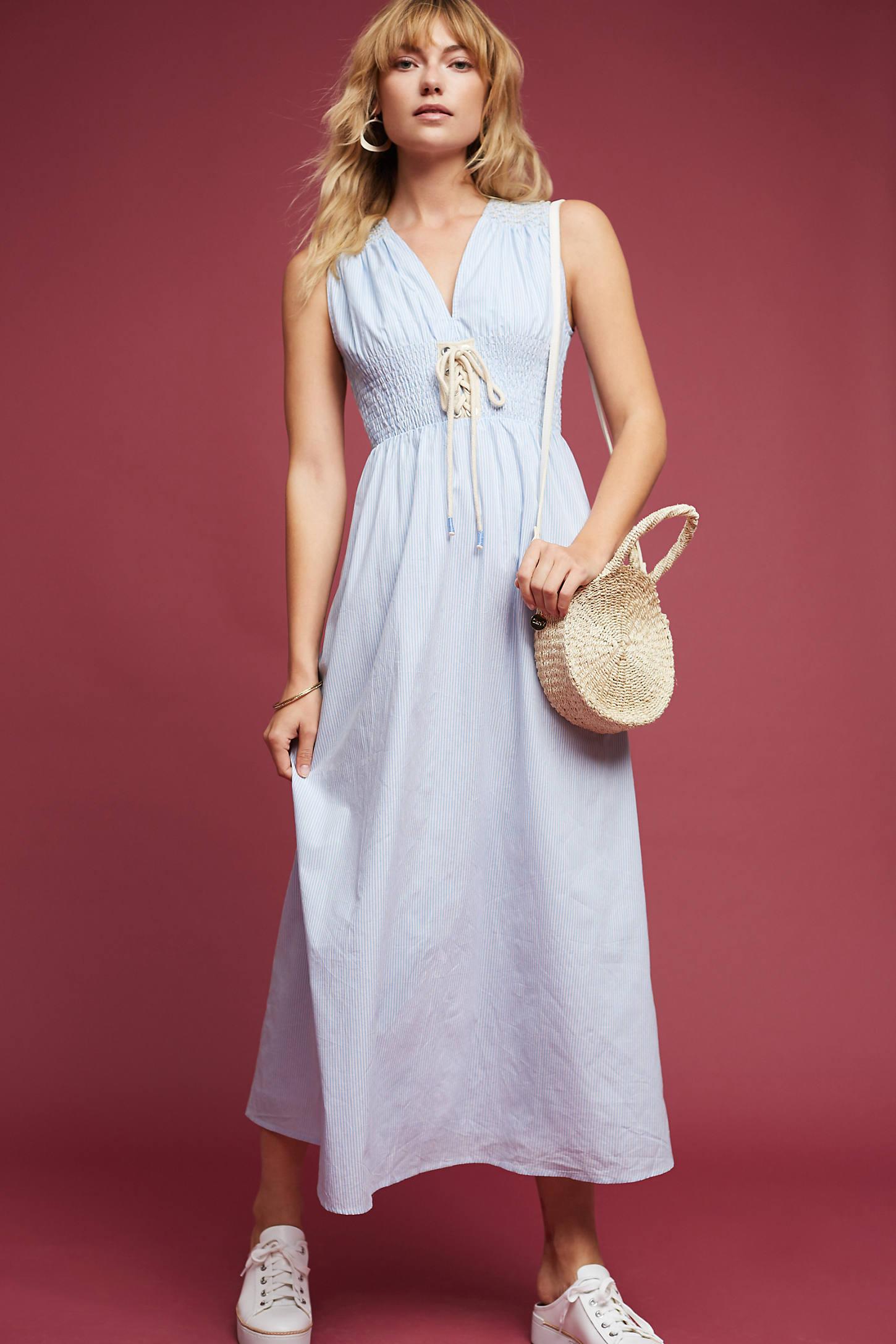 Lace-Up Poplin Midi Dress