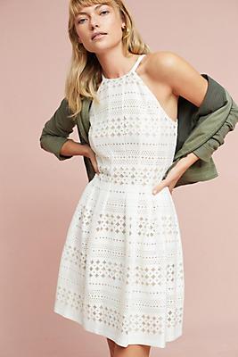 Slide View: 1: Lace Halter Mini Dress