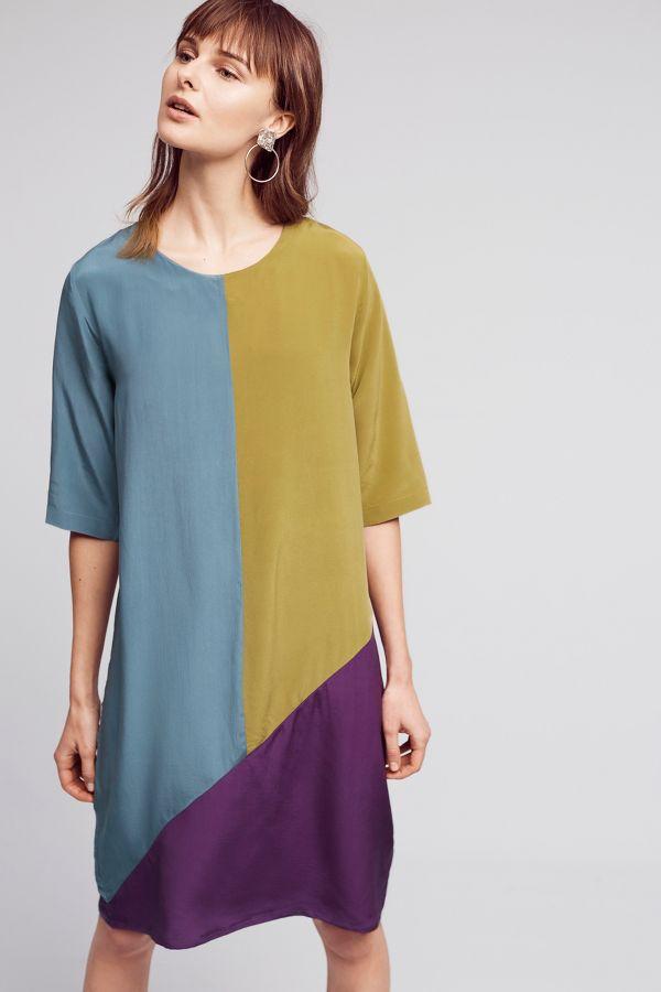 Seen Worn Kept Colorblocked Silk Dress