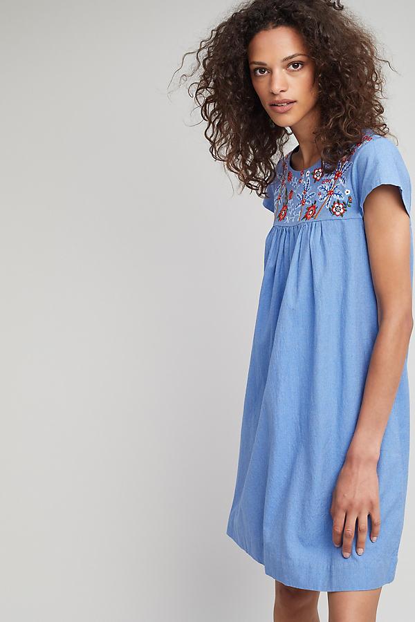 Lenna Swing-Kleid mit Stickerei - Blue